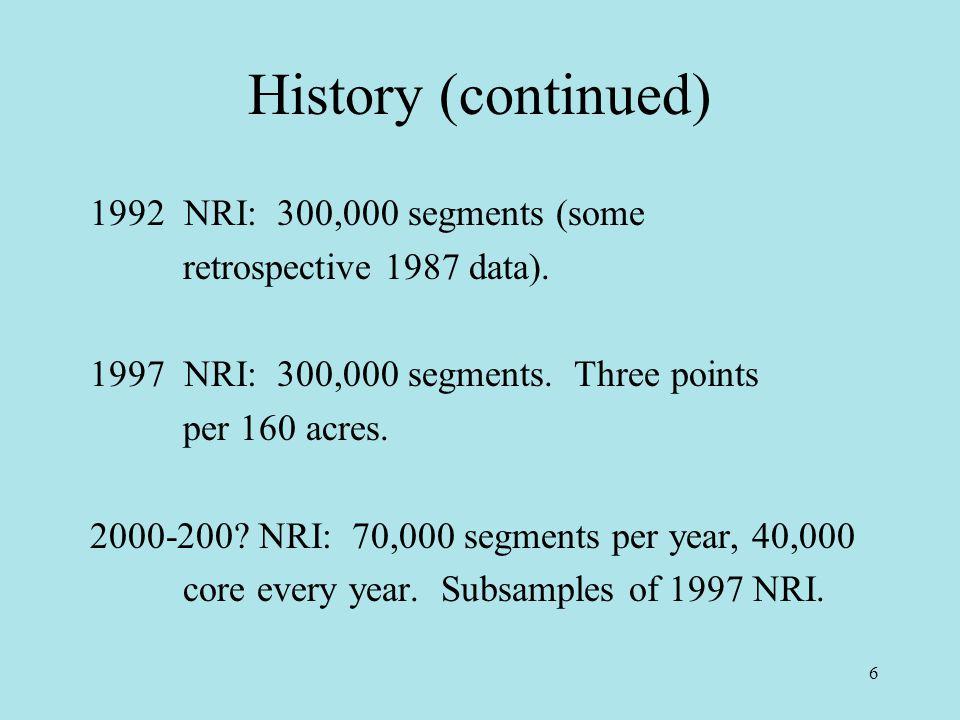 6 History (continued) 1992 NRI: 300,000 segments (some retrospective 1987 data).