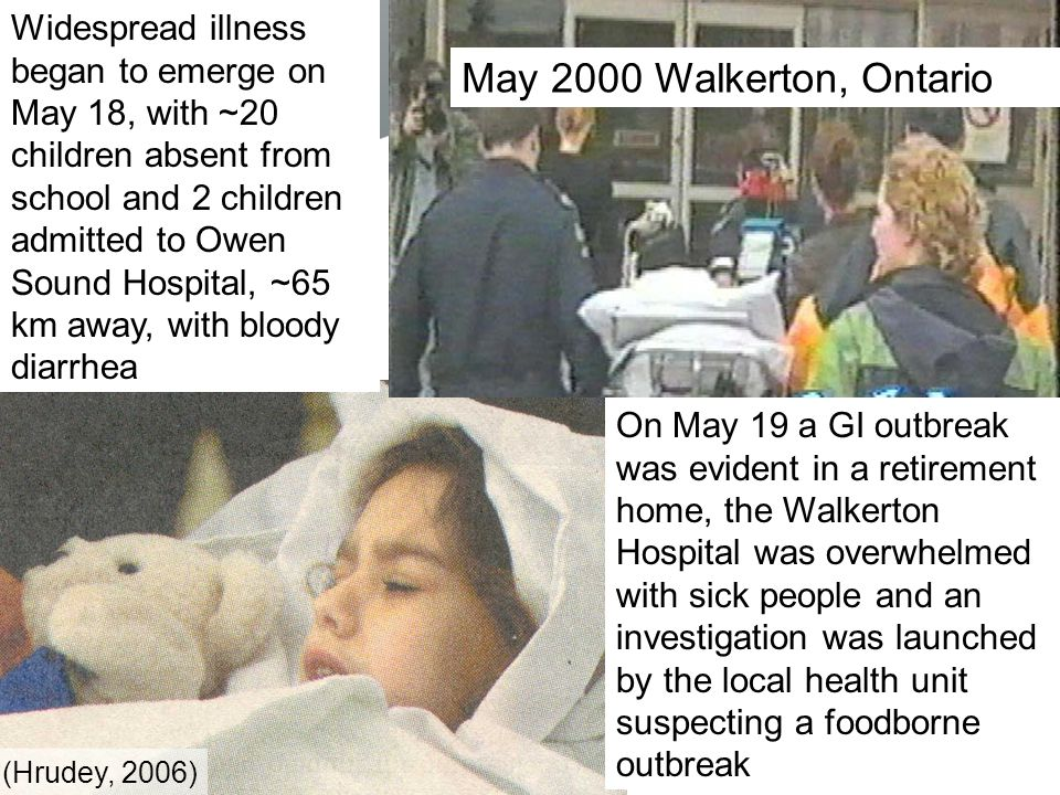 Widespread illness began to emerge on May 18, with ~20 children absent from school and 2 children admitted to Owen Sound Hospital, ~65 km away, with bloody diarrhea On May 19 a GI outbreak was evident in a retirement home, the Walkerton Hospital was overwhelmed with sick people and an investigation was launched by the local health unit suspecting a foodborne outbreak May 2000 Walkerton, Ontario (Hrudey, 2006)