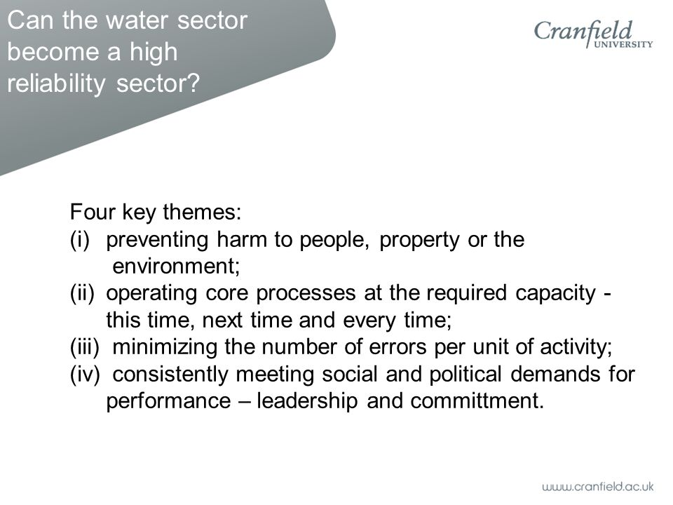 Four key themes: (i)preventing harm to people, property or the environment; (ii)operating core processes at the required capacity - this time, next time and every time; (iii) minimizing the number of errors per unit of activity; (iv) consistently meeting social and political demands for performance – leadership and committment.