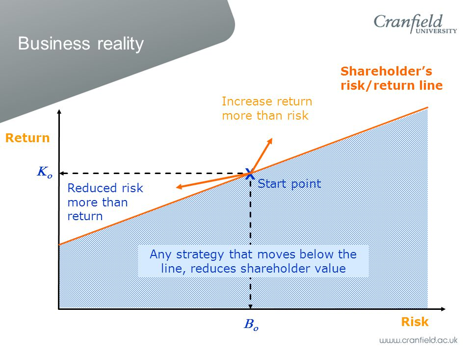Business reality Reduced risk more than return Shareholder's risk/return line Increase return more than risk Any strategy that moves below the line, reduces shareholder value Risk Return  X Start point 
