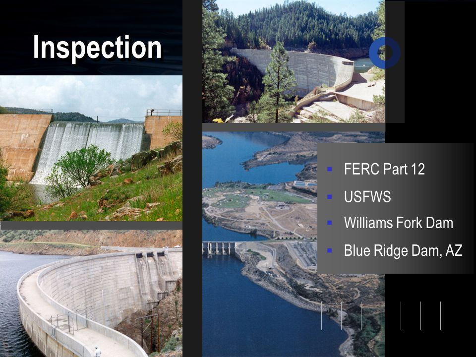 Inspection  FERC Part 12  Blue Ridge Dam, AZ  Williams Fork Dam  USFWS