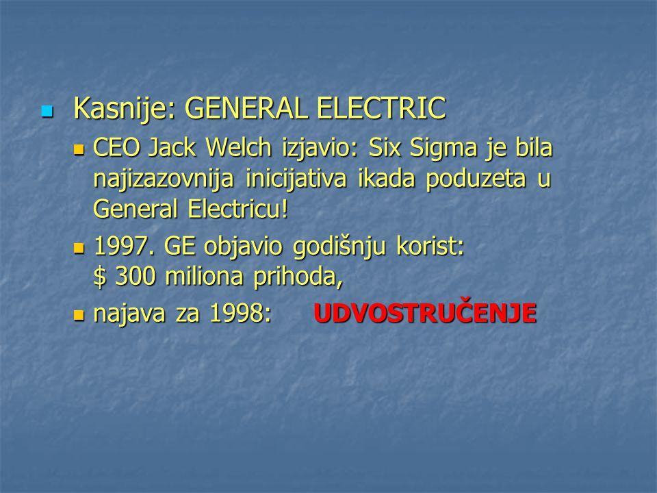 Kasnije: GENERAL ELECTRIC Kasnije: GENERAL ELECTRIC CEO Jack Welch izjavio: Six Sigma je bila najizazovnija inicijativa ikada poduzeta u General Elect