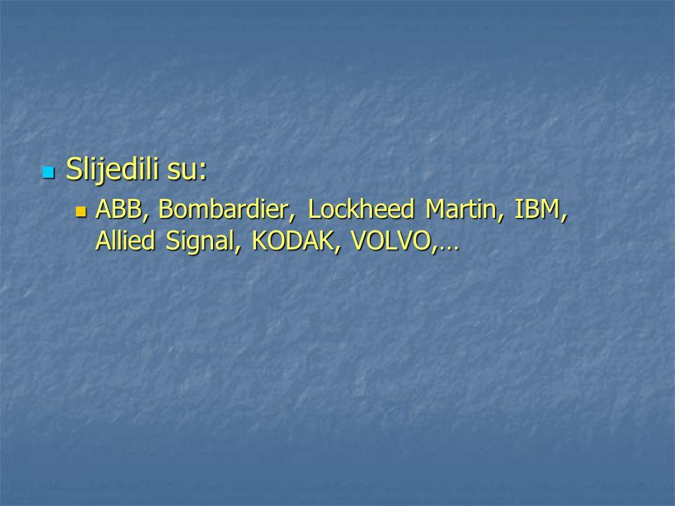 Slijedili su: Slijedili su: ABB, Bombardier, Lockheed Martin, IBM, Allied Signal, KODAK, VOLVO,… ABB, Bombardier, Lockheed Martin, IBM, Allied Signal,