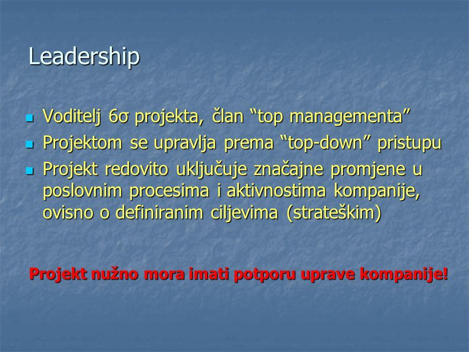 """Leadership Voditelj 6σ projekta, član """"top managementa"""" Voditelj 6σ projekta, član """"top managementa"""" Projektom se upravlja prema """"top-down"""" pristupu P"""