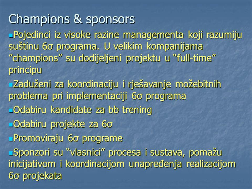 """Champions & sponsors Pojedinci iz visoke razine managementa koji razumiju suštinu 6σ programa. U velikim kompanijama """"champions"""" su dodijeljeni projek"""