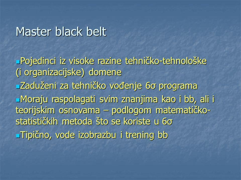 Master black belt Pojedinci iz visoke razine tehničko-tehnološke (i organizacijske) domene Pojedinci iz visoke razine tehničko-tehnološke (i organizac