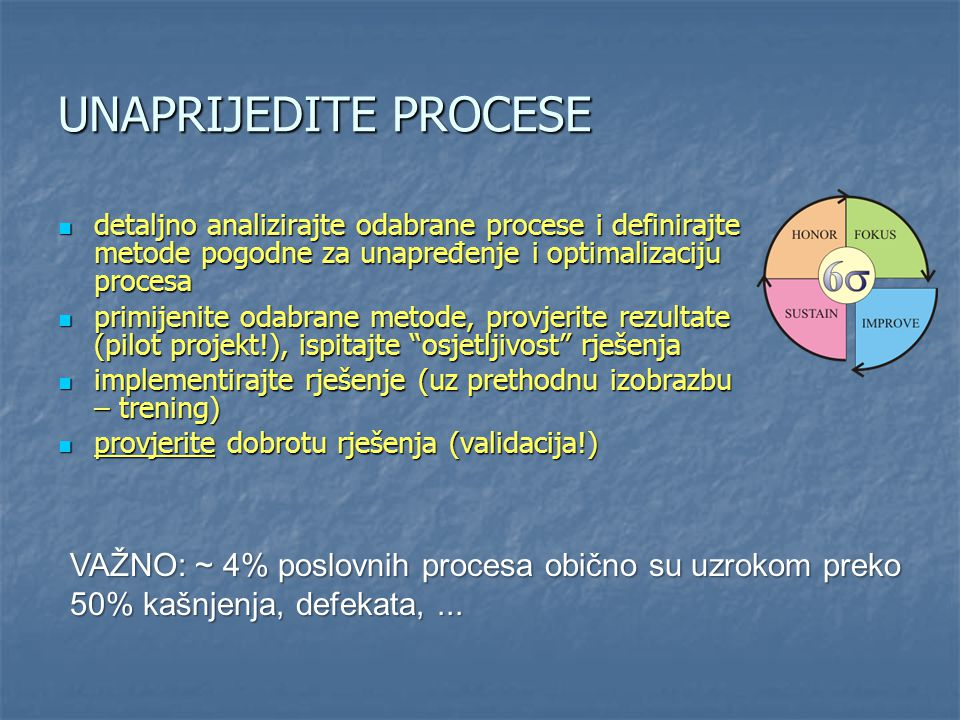 UNAPRIJEDITE PROCESE detaljno analizirajte odabrane procese i definirajte metode pogodne za unapređenje i optimalizaciju procesa detaljno analizirajte