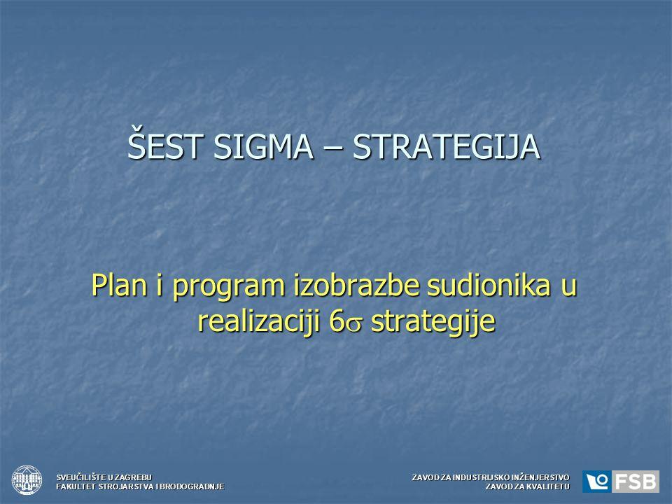 ŠEST SIGMA – STRATEGIJA Plan i program izobrazbe sudionika u realizaciji 6  strategije SVEUČILIŠTE U ZAGREBUZAVOD ZA INDUSTRIJSKO INŽENJERSTVO FAKULT