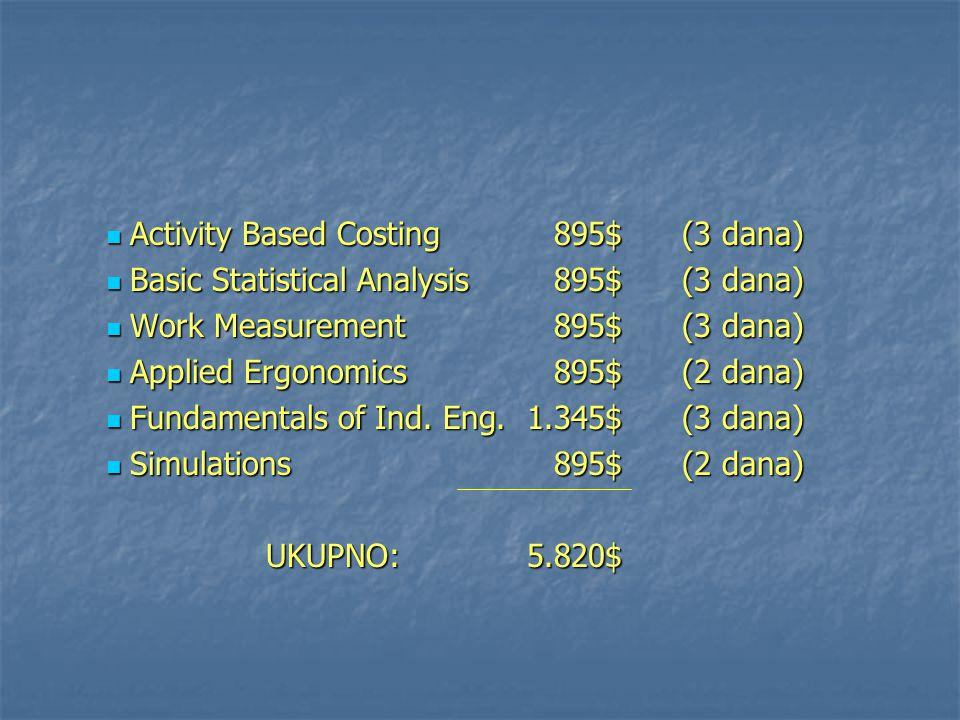 Activity Based Costing895$(3 dana) Activity Based Costing895$(3 dana) Basic Statistical Analysis895$ (3 dana) Basic Statistical Analysis895$ (3 dana)