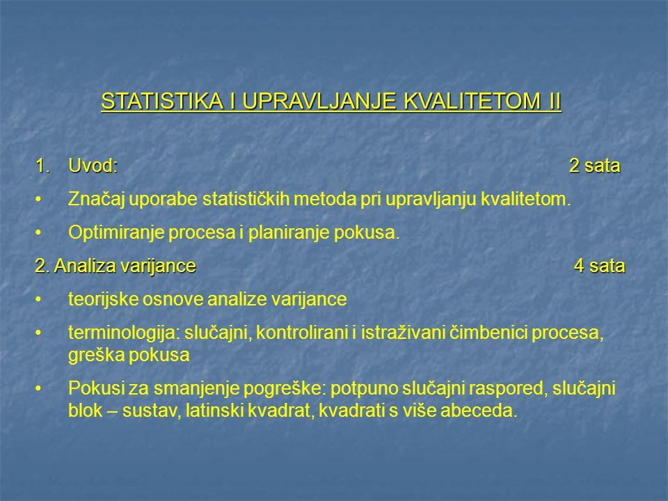 STATISTIKA I UPRAVLJANJE KVALITETOM II 1.Uvod:2 sata Značaj uporabe statističkih metoda pri upravljanju kvalitetom. Optimiranje procesa i planiranje p