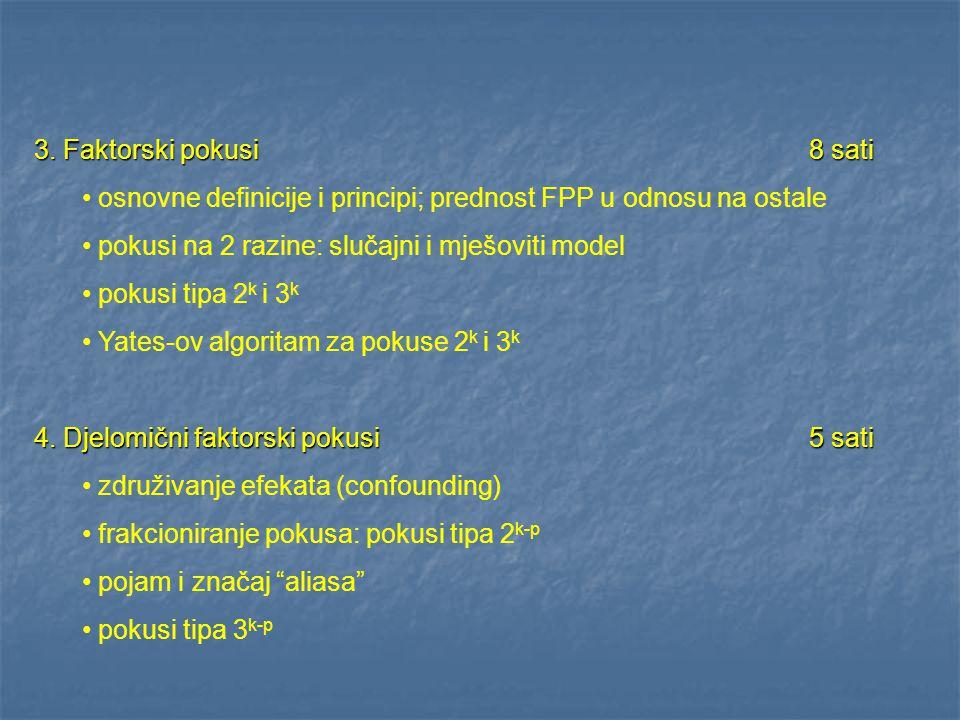 3. Faktorski pokusi 8 sati osnovne definicije i principi; prednost FPP u odnosu na ostale pokusi na 2 razine: slučajni i mješoviti model pokusi tipa 2
