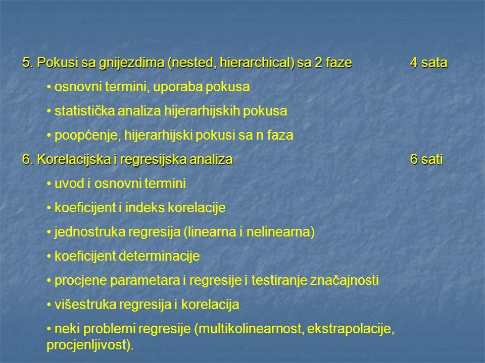 5. Pokusi sa gnijezdima (nested, hierarchical) sa 2 faze4 sata osnovni termini, uporaba pokusa statistička analiza hijerarhijskih pokusa poopćenje, hi