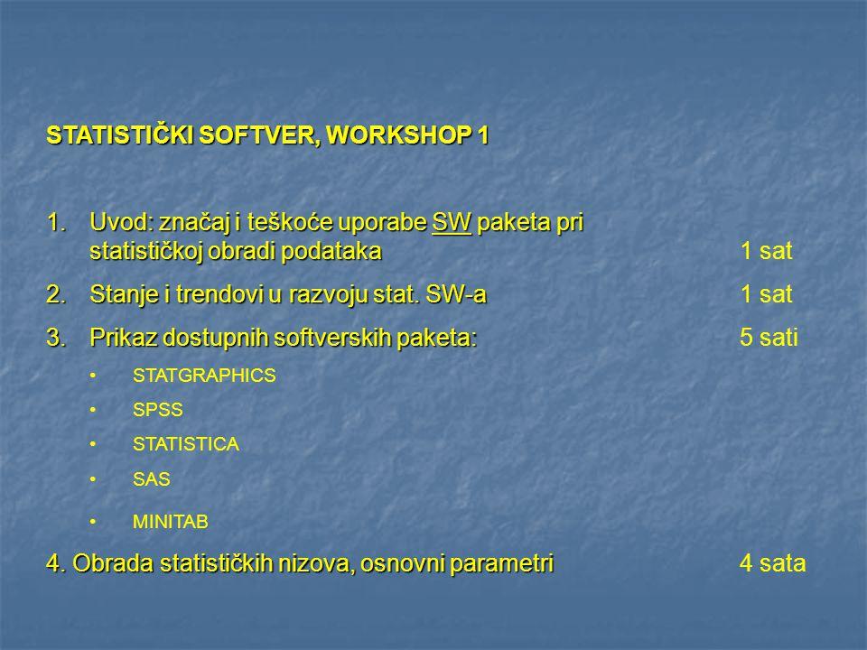 STATISTIČKI SOFTVER, WORKSHOP 1 1.Uvod: značaj i teškoće uporabe SW paketa pri statističkoj obradi podataka 1.Uvod: značaj i teškoće uporabe SW paketa