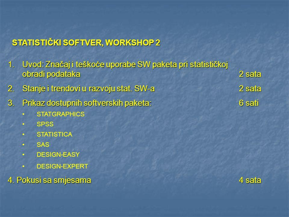 STATISTIČKI SOFTVER, WORKSHOP 2 1.Uvod: Značaj i teškoće uporabe SW paketa pri statističkoj obradi podataka2 sata 2.Stanje i trendovi u razvoju stat.