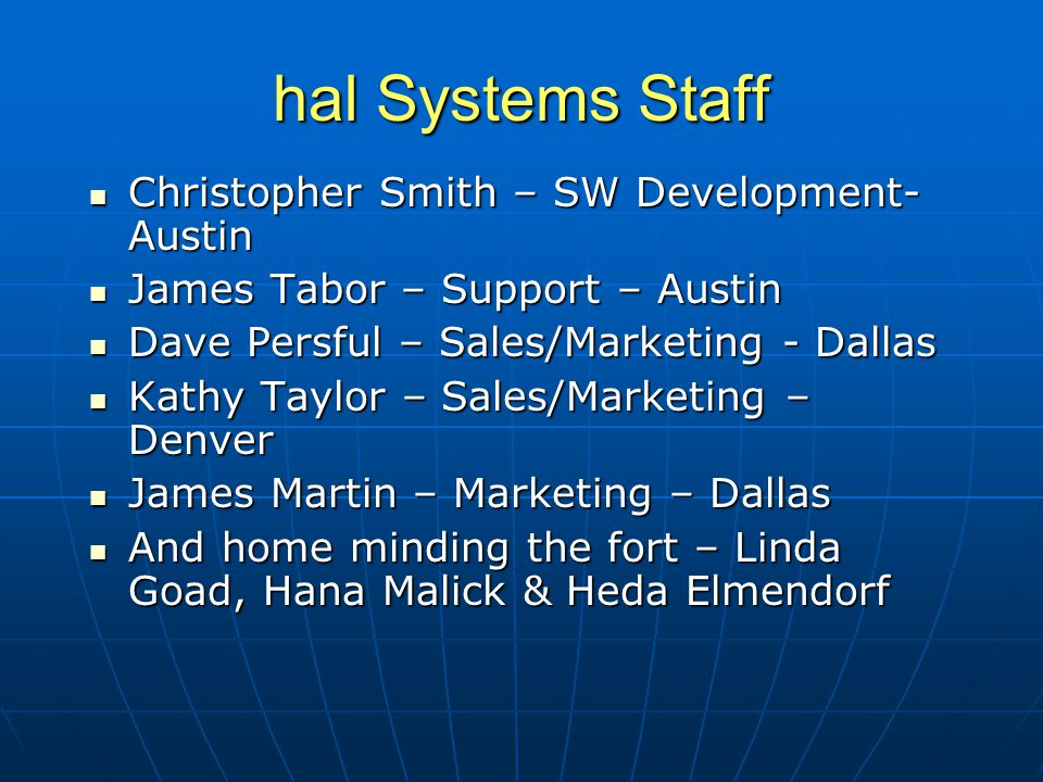 Christopher Smith – SW Development- Austin Christopher Smith – SW Development- Austin James Tabor – Support – Austin James Tabor – Support – Austin Da
