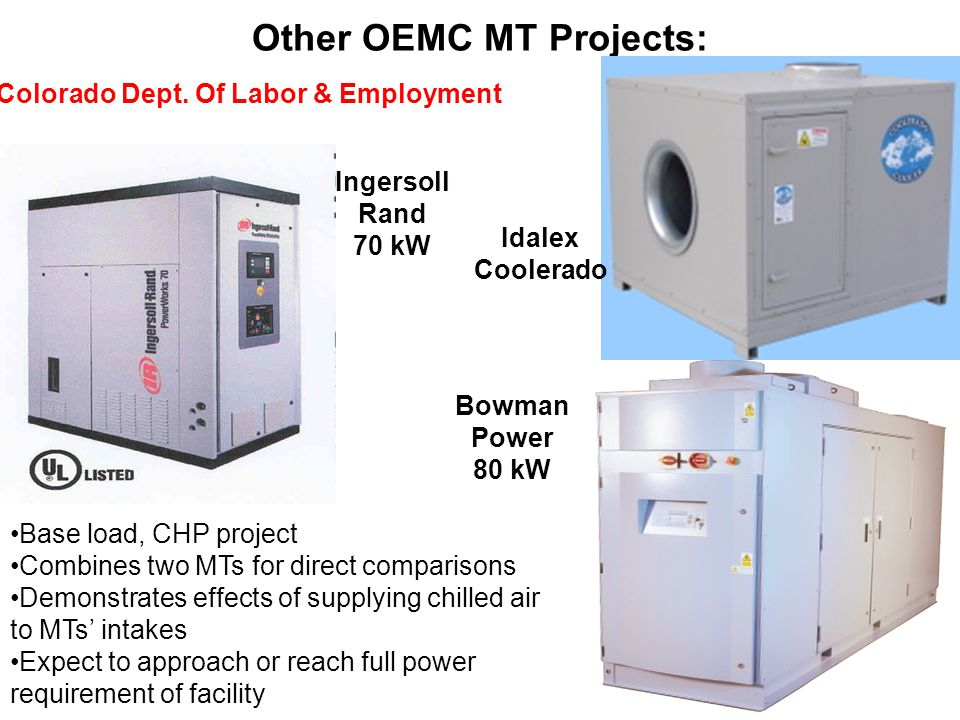 Other OEMC MT Projects: Idalex Coolerado Ingersoll Rand 70 kW Bowman Power 80 kW Colorado Dept.