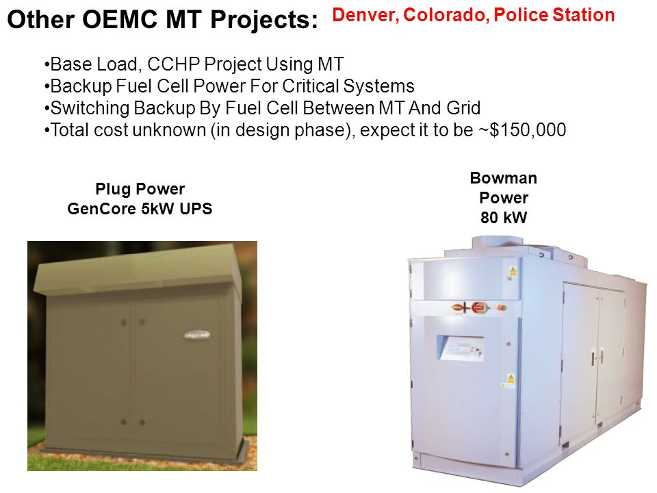 Plug Power GenCore 5kW UPS Bowman Power 80 kW Other OEMC MT Projects: Denver, Colorado, Police Station Base Load, CCHP Project Using MT Backup Fuel Cell Power For Critical Systems Switching Backup By Fuel Cell Between MT And Grid Total cost unknown (in design phase), expect it to be ~$150,000