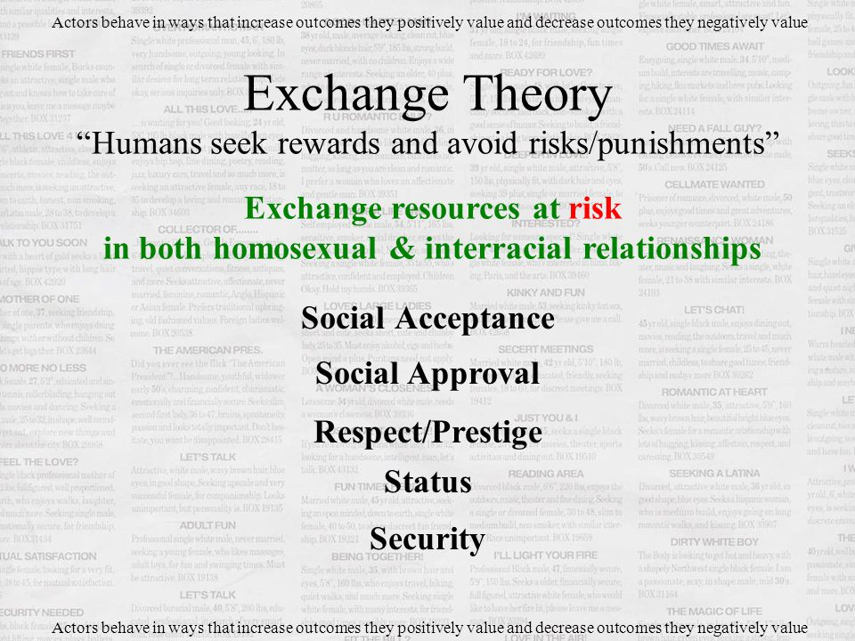 Social Acceptance Exchange Theory Humans seek rewards and avoid risks/punishments Actors behave in ways that increase outcomes they positively value and decrease outcomes they negatively value Exchange resources at risk in both homosexual & interracial relationships Social Approval Respect/Prestige Status Security