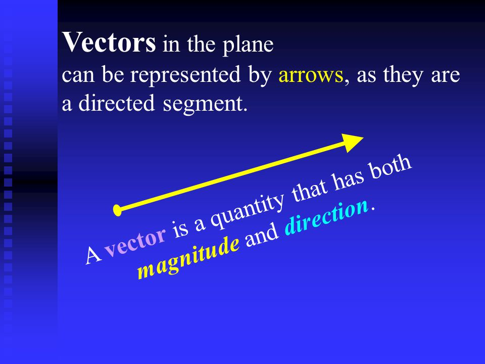 A vector is a quantity that has both magnitude and direction.