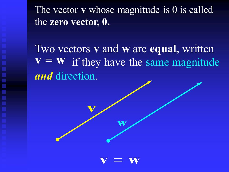 The vector v whose magnitude is 0 is called the zero vector, 0.