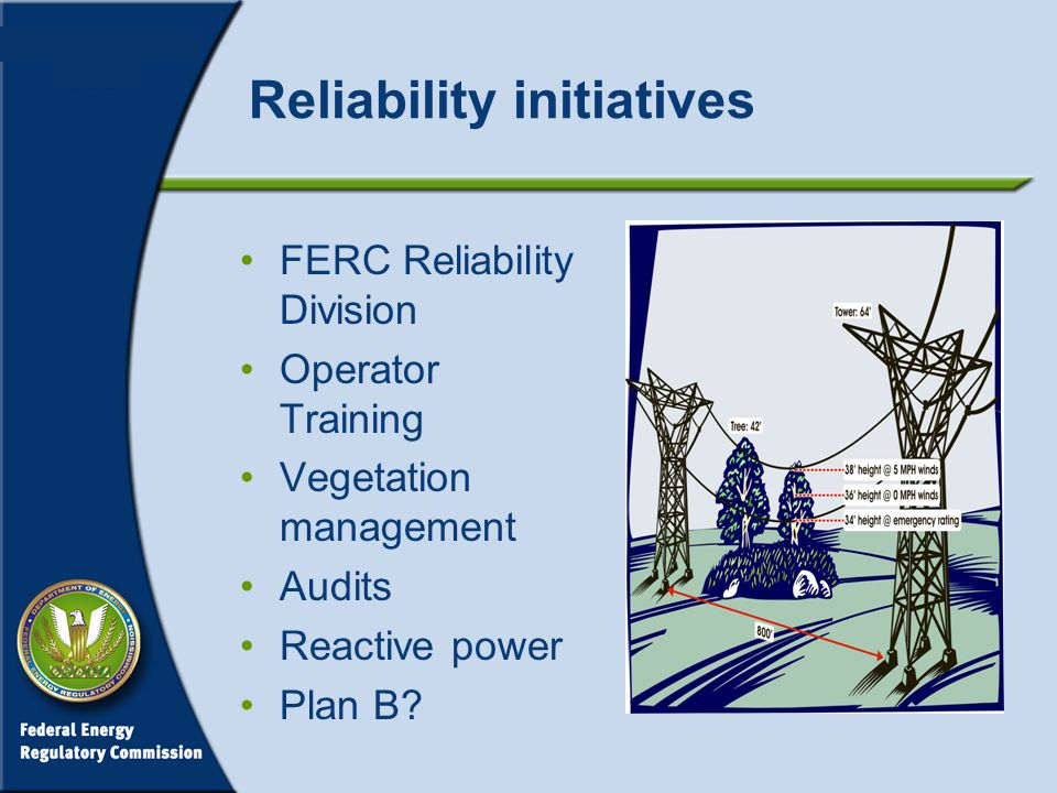 Reliability initiatives FERC Reliability Division Operator Training Vegetation management Audits Reactive power Plan B
