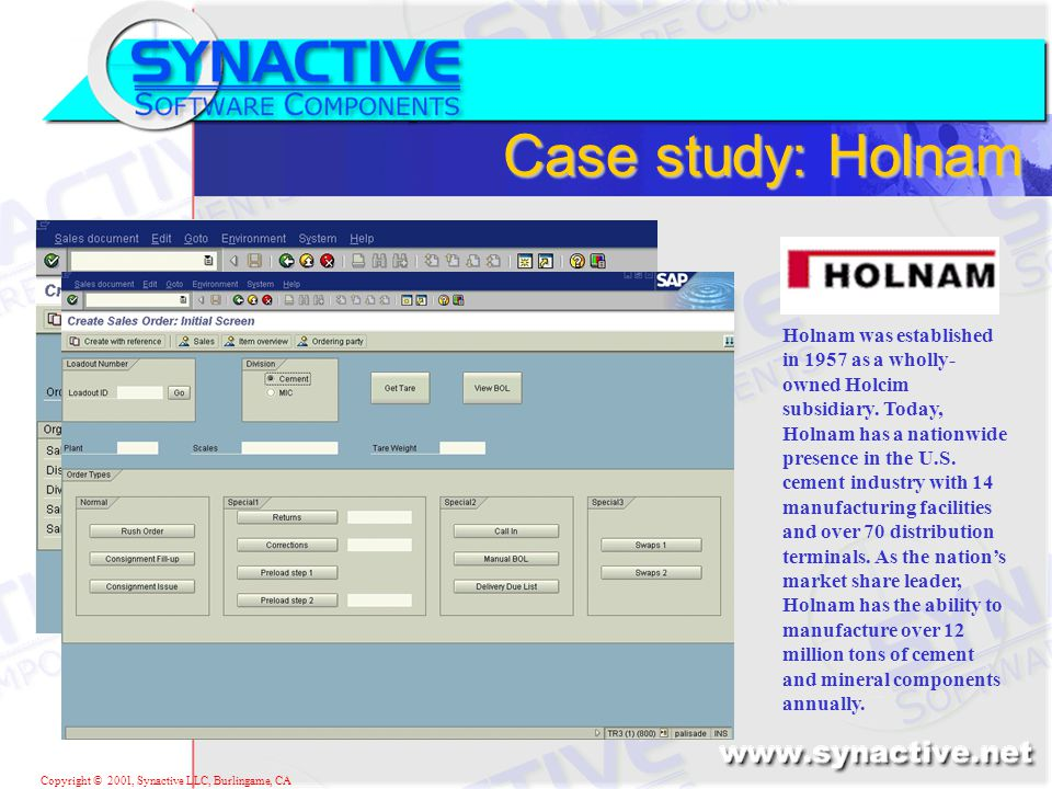Copyright © 2001, Synactive LLC, Burlingame, CA Case study: Holnam Holnam was established in 1957 as a wholly- owned Holcim subsidiary.