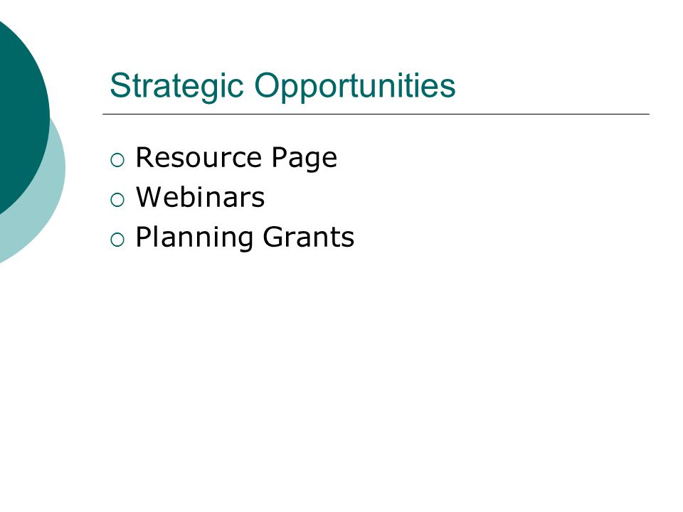 Strategic Opportunities  Resource Page  Webinars  Planning Grants