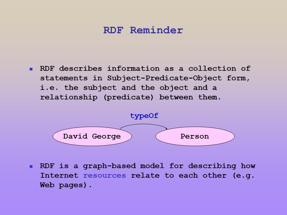 RDF Reminder RDF describes information as a collection of statements in Subject-Predicate-Object form, i.e.