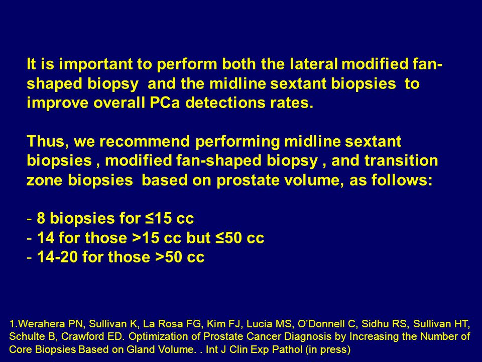 It is important to perform both the lateral modified fan- shaped biopsy and the midline sextant biopsies to improve overall PCa detections rates.