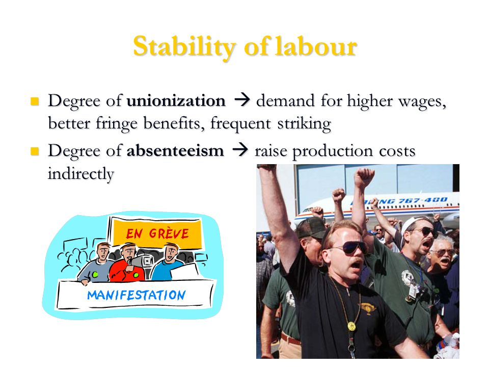 Stability of labour Degree of unionization  demand for higher wages, better fringe benefits, frequent striking Degree of unionization  demand for higher wages, better fringe benefits, frequent striking Degree of absenteeism  raise production costs indirectly Degree of absenteeism  raise production costs indirectly