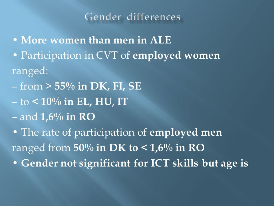 More women than men in ALE Participation in CVT of employed women ranged: – from > 55% in DK, FI, SE – to < 10% in EL, HU, IT – and 1,6% in RO The rat