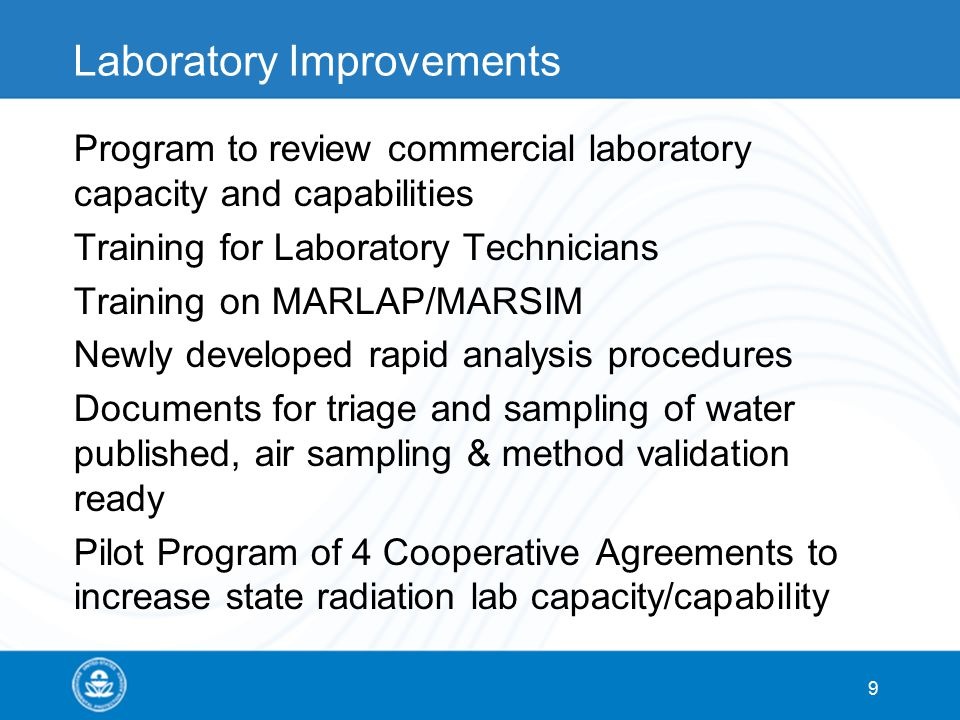 Laboratory Improvements Program to review commercial laboratory capacity and capabilities Training for Laboratory Technicians Training on MARLAP/MARSIM Newly developed rapid analysis procedures Documents for triage and sampling of water published, air sampling & method validation ready Pilot Program of 4 Cooperative Agreements to increase state radiation lab capacity/capability 9