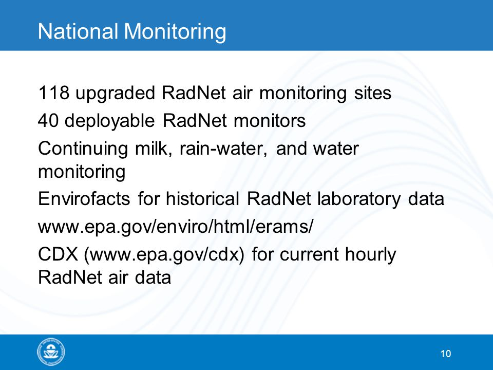 National Monitoring 118 upgraded RadNet air monitoring sites 40 deployable RadNet monitors Continuing milk, rain-water, and water monitoring Envirofac