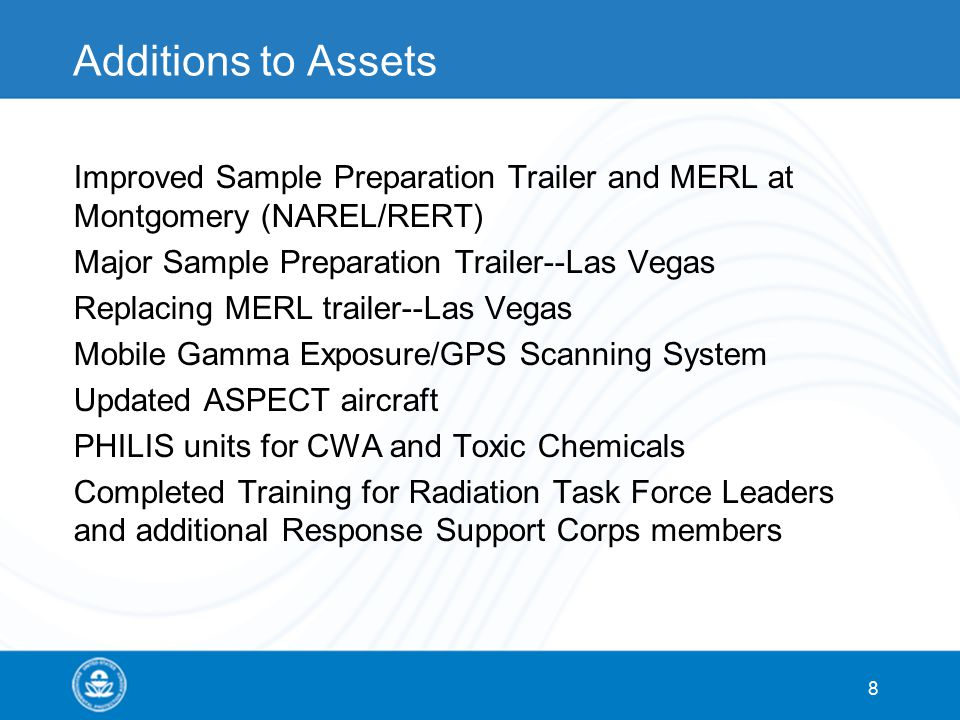 Additions to Assets Improved Sample Preparation Trailer and MERL at Montgomery (NAREL/RERT) Major Sample Preparation Trailer--Las Vegas Replacing MERL