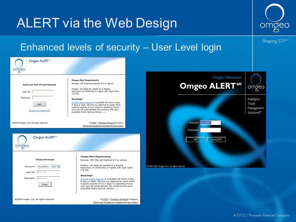 ALERT via the Web Design Enhanced levels of security – User Level login