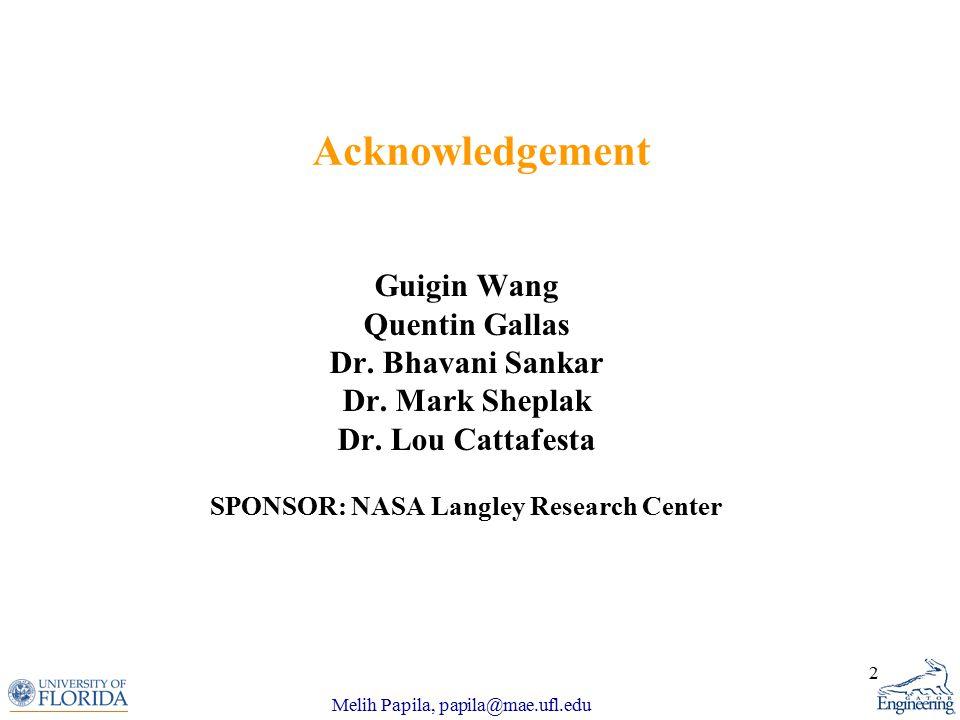 Melih Papila, papila@mae.ufl.edu 2 Acknowledgement Guigin Wang Quentin Gallas Dr.