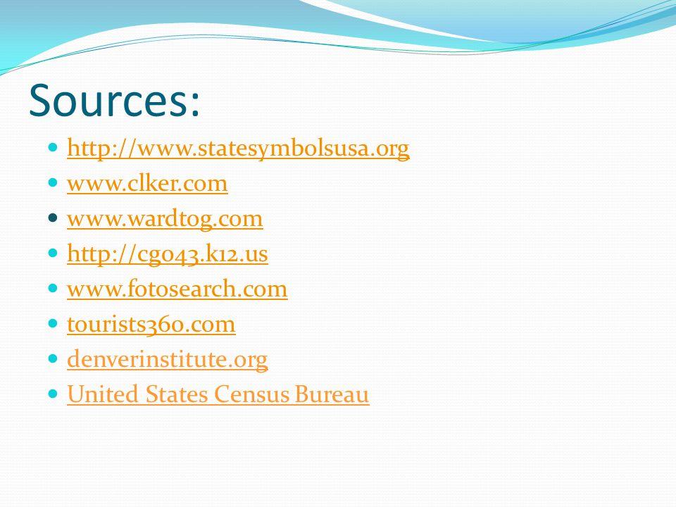 Sources: http://www.statesymbolsusa.org www.clker.com www.wardtog.com http://cg043.k12.us www.fotosearch.com tourists360.com denverinstitute.org United States Census Bureau