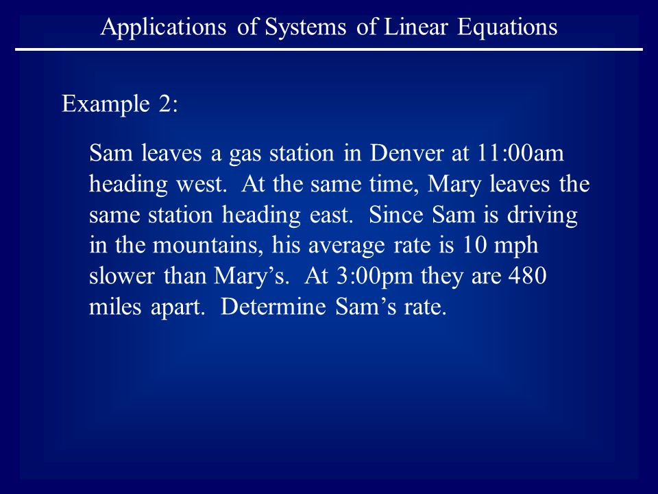 Example 2: Sam leaves a gas station in Denver at 11:00am heading west.