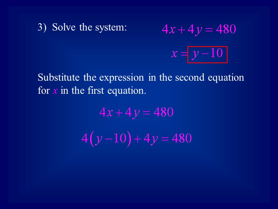3) Solve the system: Substitute the expression in the second equation for x in the first equation.