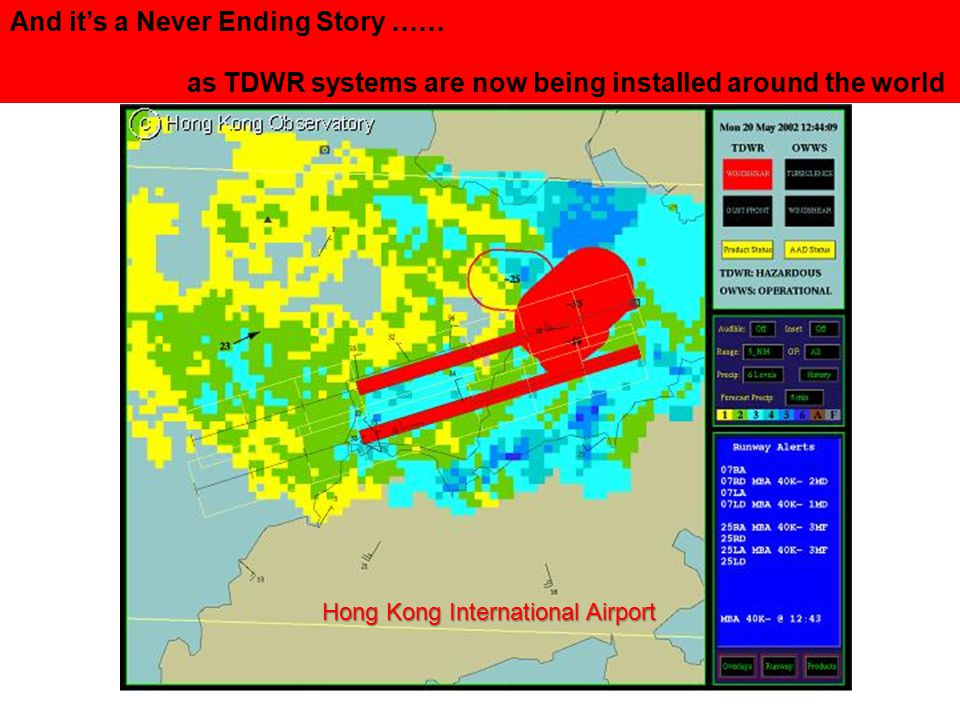 Terminal Doppler Weather Radars (TDWR) Located at 45 major airports around the United States And it's a Never Ending Story …… as TDWR systems are now being installed around the world Hong Kong International Airport