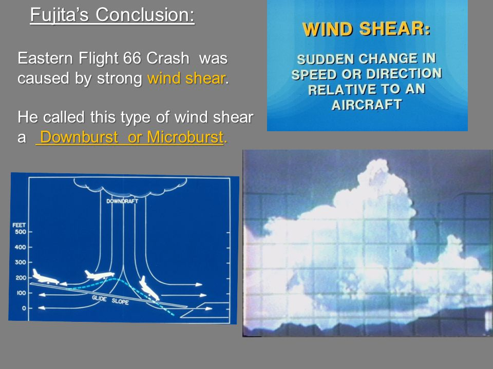 Fujita's Conclusion: Eastern Flight 66 Crash was caused by strong wind shear.