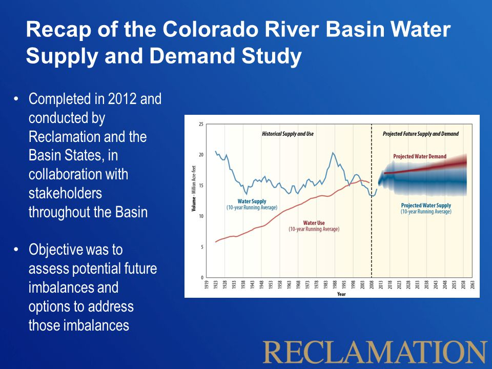 Recap of the Colorado River Basin Water Supply and Demand Study Completed in 2012 and conducted by Reclamation and the Basin States, in collaboration with stakeholders throughout the Basin Objective was to assess potential future imbalances and options to address those imbalances