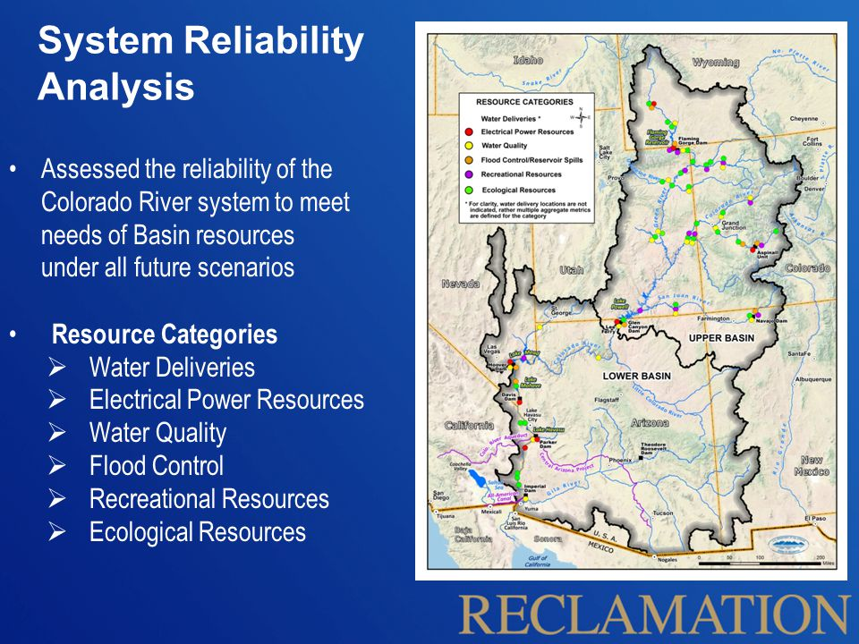 System Reliability Analysis Assessed the reliability of the Colorado River system to meet needs of Basin resources under all future scenarios Resource Categories  Water Deliveries  Electrical Power Resources  Water Quality  Flood Control  Recreational Resources  Ecological Resources