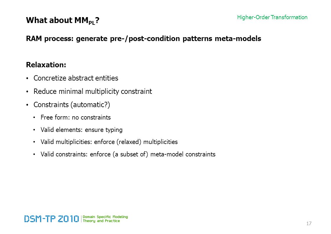 Higher-Order Transformation What about MM PL .