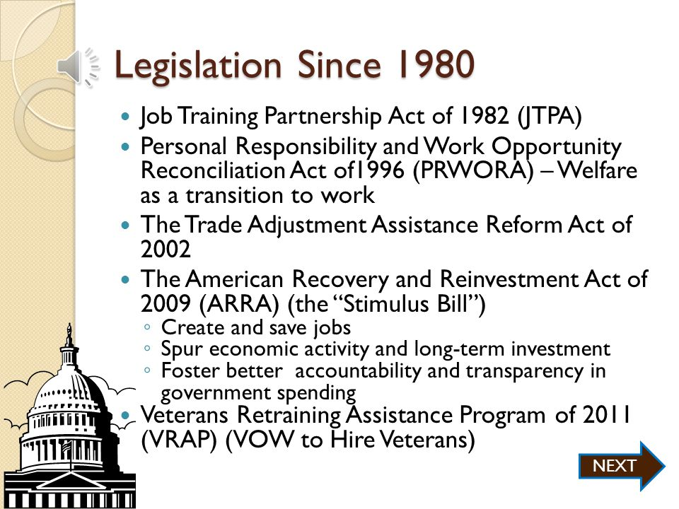 Policies Prior to 1980 The Wagner-Peyser Act of 1933 – U.S.