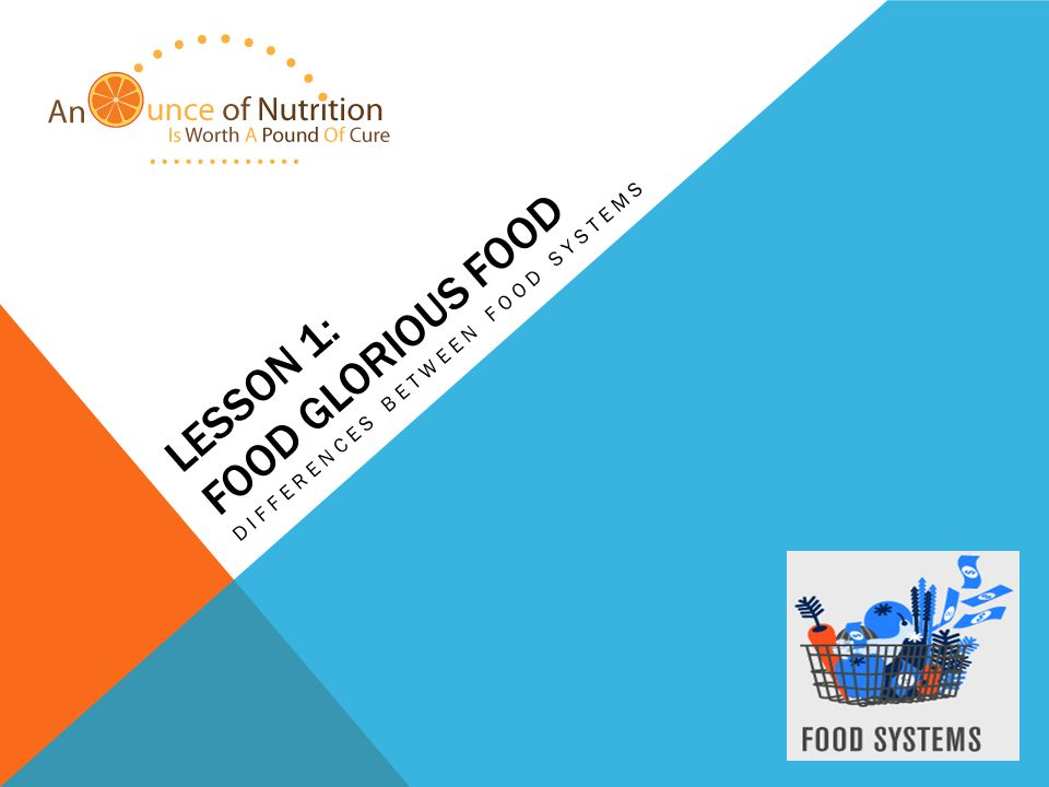 LESSON 1: FOOD GLORIOUS FOOD DIFFERENCES BETWEEN FOOD SYSTEMS