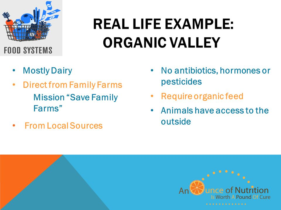 REAL LIFE EXAMPLE: ORGANIC VALLEY Mostly Dairy Direct from Family Farms Mission Save Family Farms From Local Sources No antibiotics, hormones or pesticides Require organic feed Animals have access to the outside