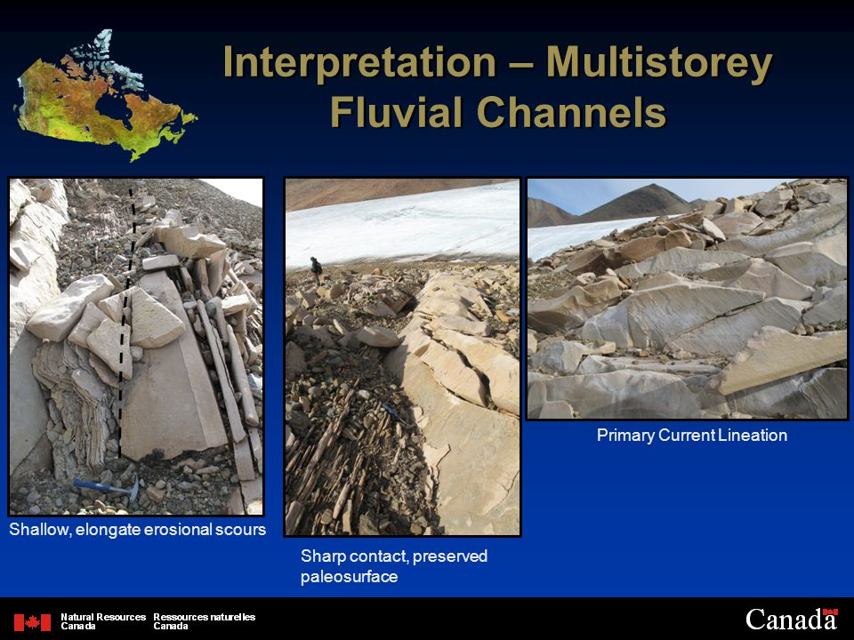 Interpretation – Multistorey Fluvial Channels Shallow, elongate erosional scours Primary Current Lineation Sharp contact, preserved paleosurface