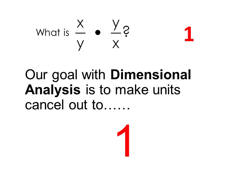 What is 1 Our goal with Dimensional Analysis is to make units cancel out to…… 1