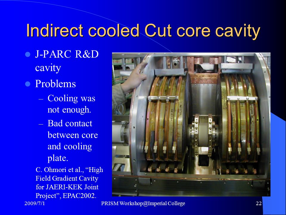 Indirect cooled Cut core cavity J-PARC R&D cavity Problems – Cooling was not enough.